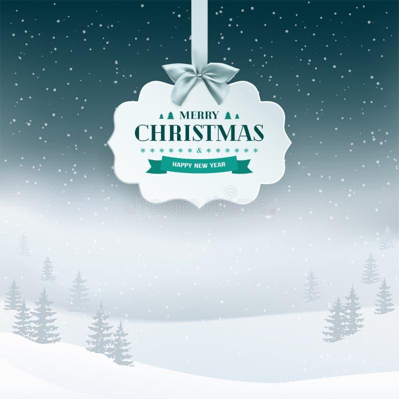 Fundo da paisagem da noite do inverno com neve de queda e árvores na névoa Etiqueta do papel 3D com fita e curva de prata ilustração royalty free