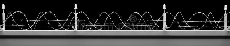 Fundo da parede de Barbwire com trajetos de grampeamento fotografia de stock