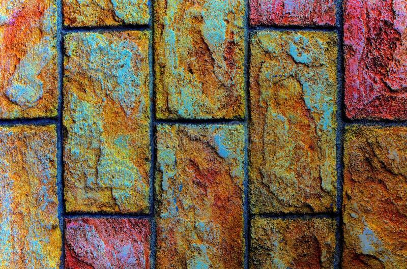 Fundo da parede de pedra com texturas coloridas foto de stock royalty free