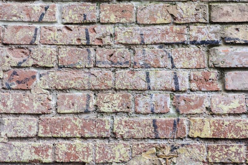 Fundo da parede de tijolo suja do vintage velho, close-up de superfície Textura colorida do grunge da parede com emplastro da cas fotos de stock