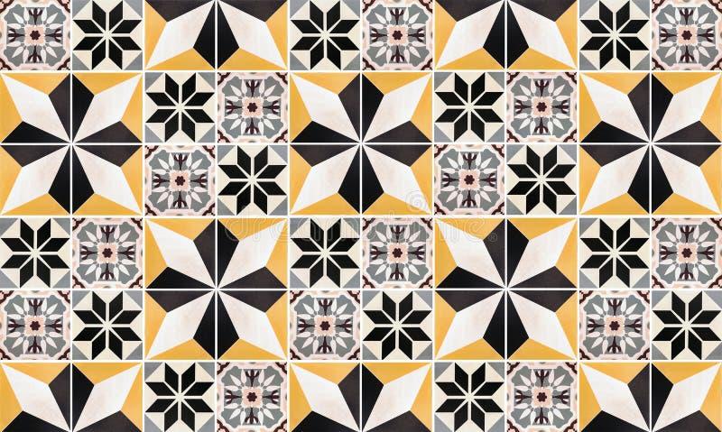 Fundo da parede dos azulejos para a casa interior Textura da telha do cimento do vintage colorido ou teste padr?o e papel de pare imagens de stock