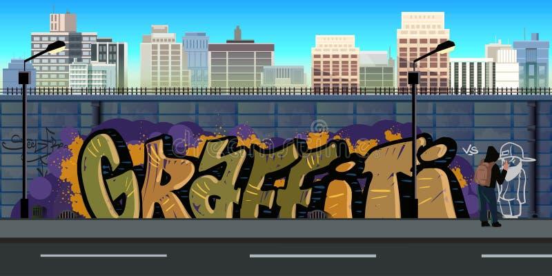 Fundo da parede dos grafittis, arte urbana ilustração do vetor