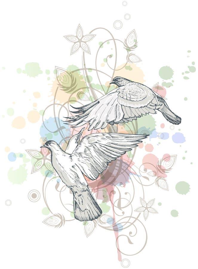 Fundo da pintura da cor das pombas do vôo ilustração do vetor