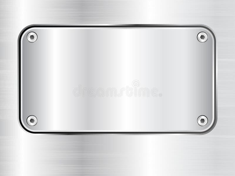 Fundo da placa de metal, placa de identificação de aço com parafusos ilustração royalty free