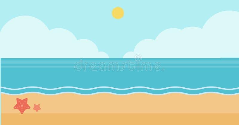 Fundo da praia da areia com mar azul ilustração do vetor