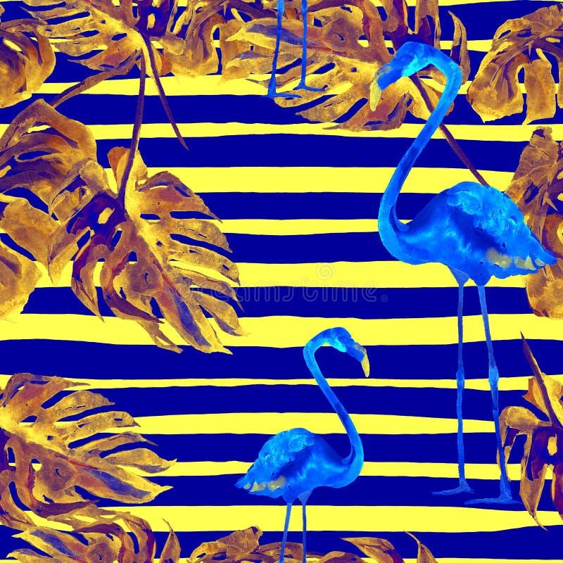 Fundo da praia do verão Teste padrão sem emenda da aquarela Motivo tropico pintado à mão do verão com árvores havaianas ilustração stock
