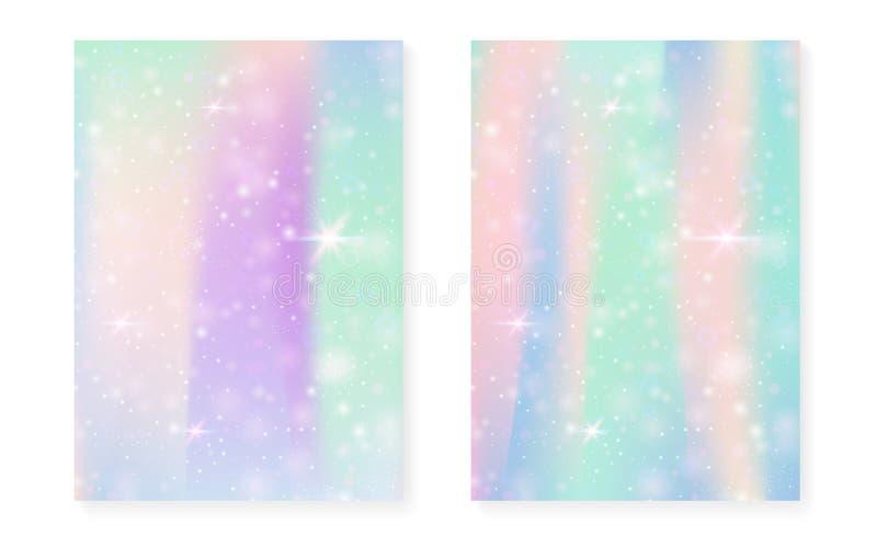 Fundo da princesa com inclinação do arco-íris do kawaii Unicórnio mágico ilustração royalty free