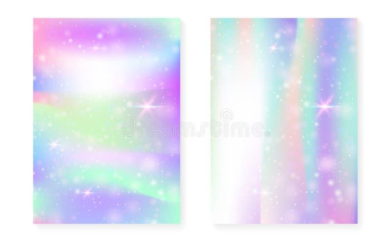 Fundo da princesa com inclinação do arco-íris do kawaii Unicórnio mágico ilustração do vetor