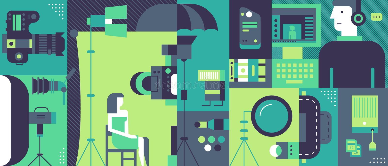 Fundo da produção do estúdio da foto ilustração stock
