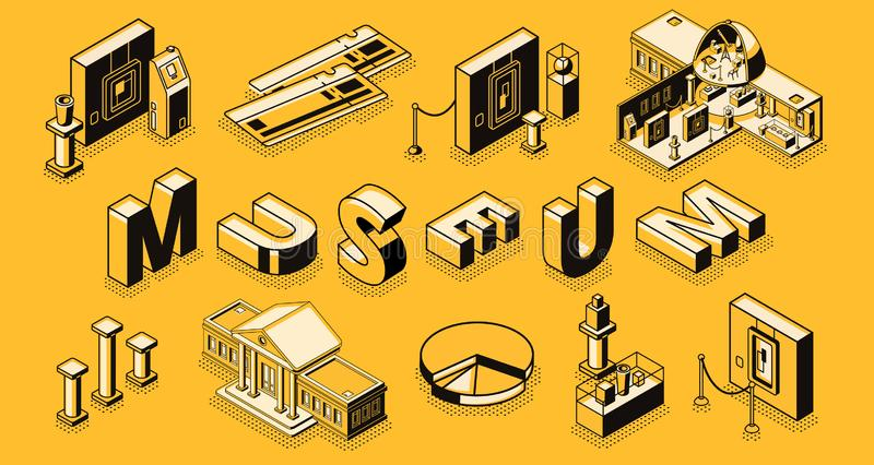 Fundo da projeção isométrica de museu de arte ilustração stock