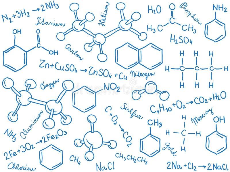 Fundo da química - moléculas e fórmulas ilustração royalty free