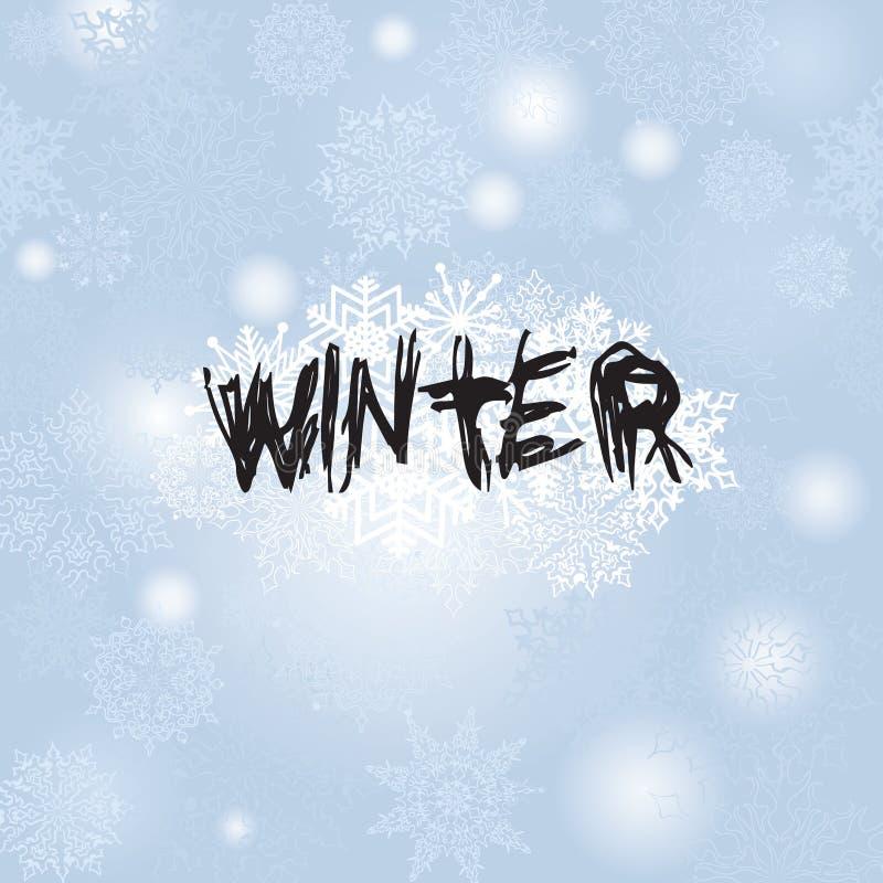 Fundo da queda de neve do Natal com INVERNO da rotulação inverno Holi ilustração do vetor
