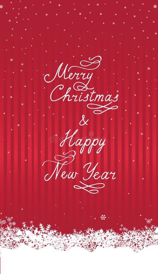Fundo da queda de neve do Natal com neve, cartão escrito à mão ilustração royalty free