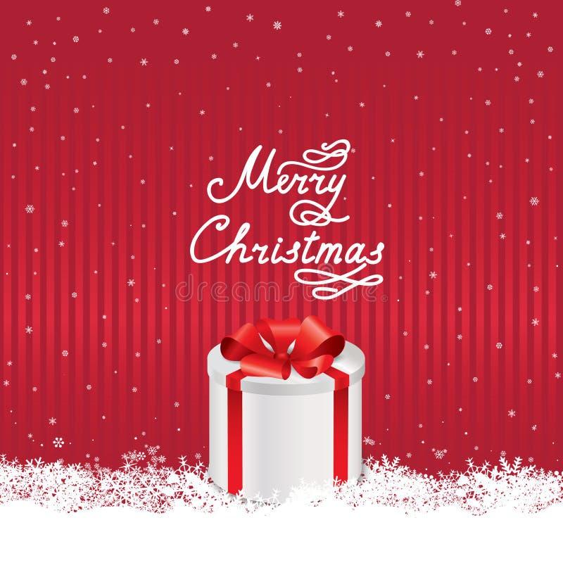 Fundo da queda de neve do Natal com o letterin escrito à mão do cumprimento ilustração royalty free
