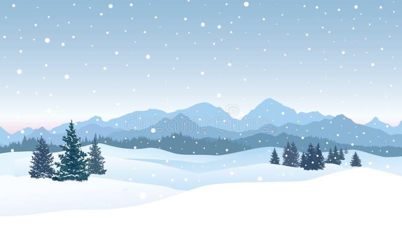 Fundo da queda de neve do Natal Paisagem do inverno da neve Chri alegre ilustração royalty free