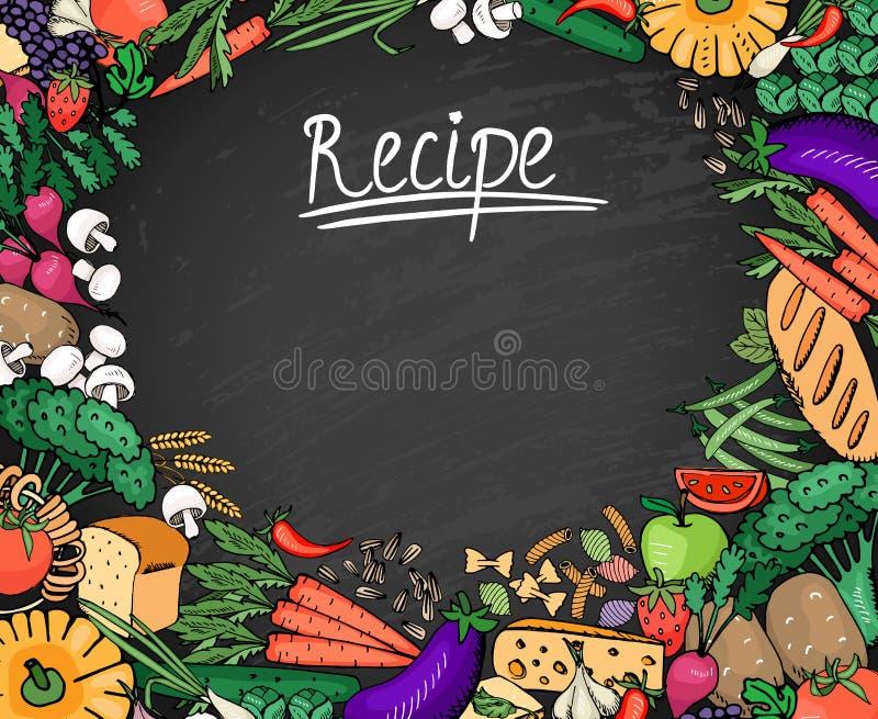 Fundo da receita do alimento no quadro preto ilustração stock