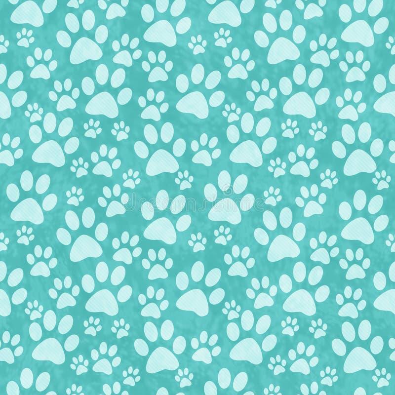 Fundo da repetição do teste padrão de Teal Doggy Paw Print Tile foto de stock