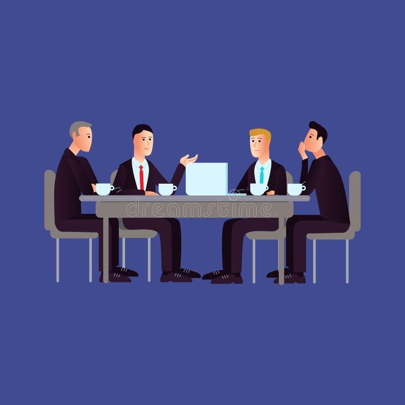Fundo da reunião da ilustração do vetor no estilo liso ilustração stock
