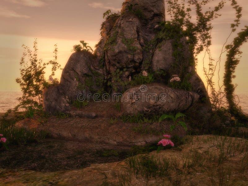 Fundo da rocha e da hera da fantasia ilustração do vetor