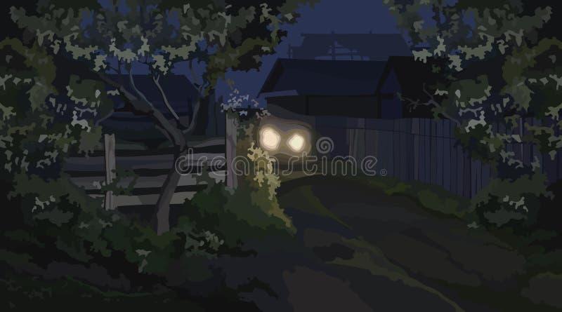 Fundo da rua da vila da noite iluminada por faróis ilustração stock