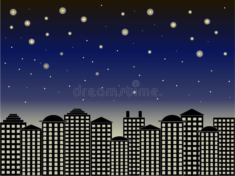 Fundo da série da cidade Construções pretas, obscuridade - céu azul, noite estrelado, vetor ilustração stock