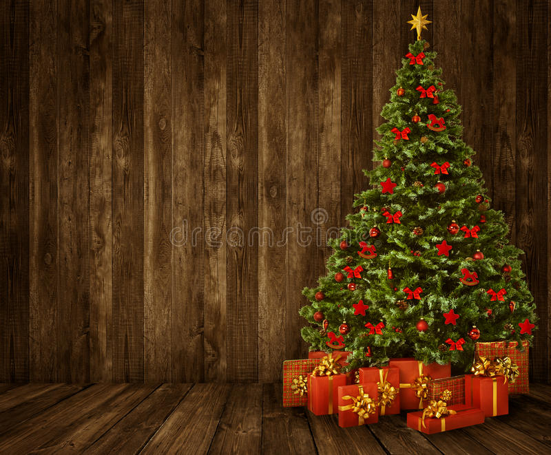 Fundo da sala da árvore de Natal, interior de madeira do assoalho de madeira da parede fotos de stock royalty free
