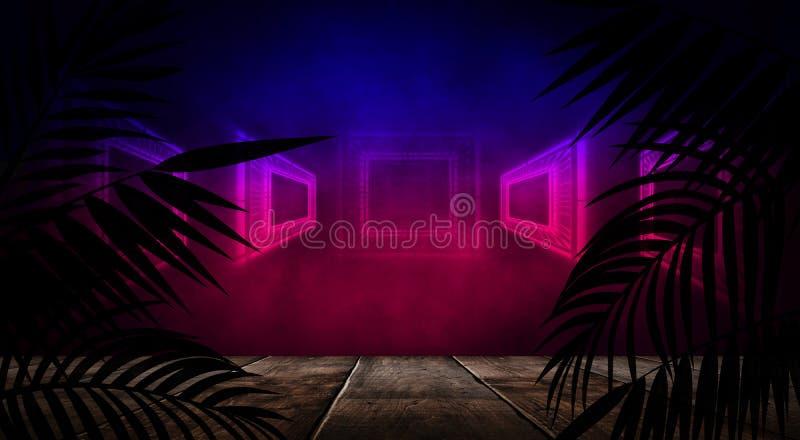 Fundo da sala escura, túnel, corredor, luz de néon, lâmpadas, folhas tropicais ilustração stock