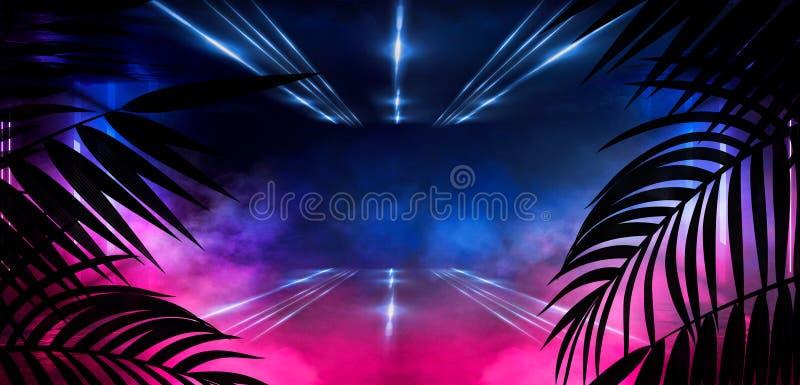 Fundo da sala escura, túnel, corredor, luz de néon, lâmpadas, folhas tropicais ilustração royalty free