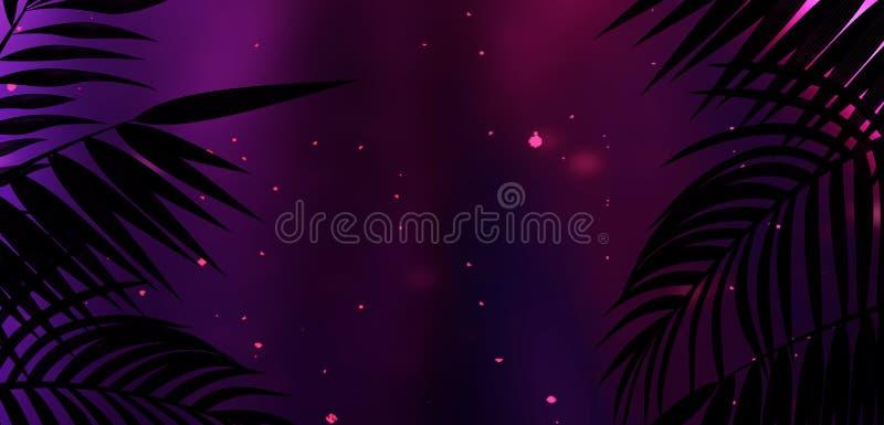 Fundo da sala escura, túnel, corredor, luz de néon, lâmpadas, folhas tropicais ilustração do vetor