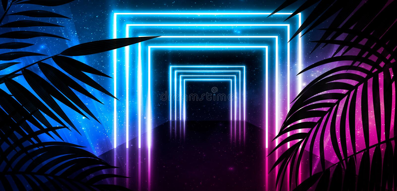 Fundo da sala escura, t?nel, corredor, luz de n?on, l?mpadas, folhas tropicais fotos de stock royalty free