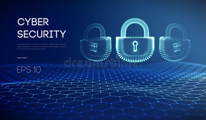 Fundo da segurança do cyber do Internet de Coputer Ilustração do vetor do crime do Cyber fechamento digital ilustração stock
