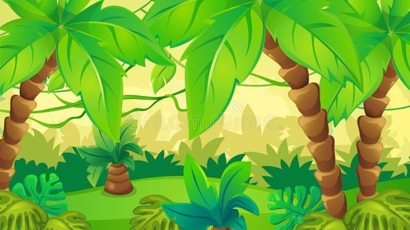 Fundo da selva com palma ilustração royalty free