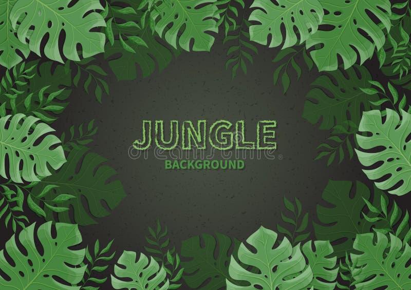 Fundo da selva Quadro das folhas de palmeira tropicas, ramos em um fundo preto Folha verde do monstera Espaço do texto ilustração stock