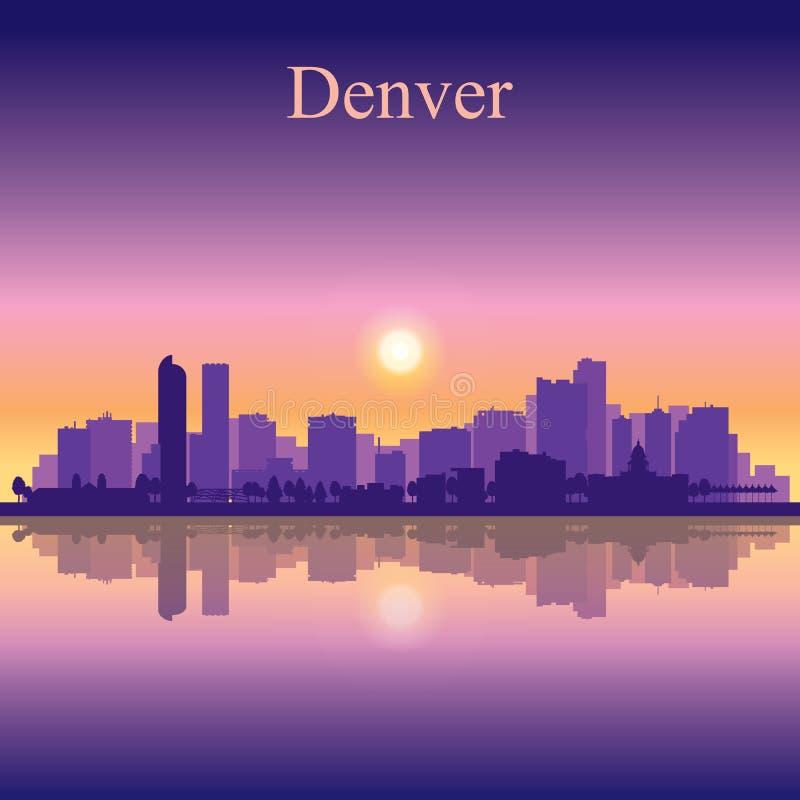 Fundo da silhueta da skyline da cidade de Denver ilustração royalty free