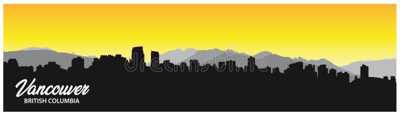 Fundo da silhueta da skyline do Columbia Britânica de Vancôver com panorama da cidade ilustração stock
