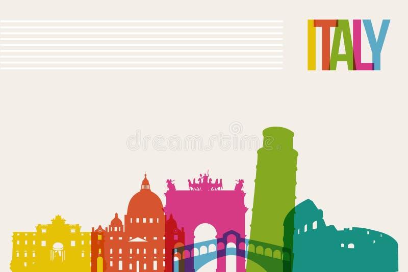 Fundo da skyline dos marcos do destino de Itália do curso ilustração stock