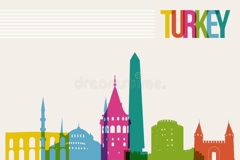 Fundo da skyline dos marcos do destino de Turquia do curso ilustração stock