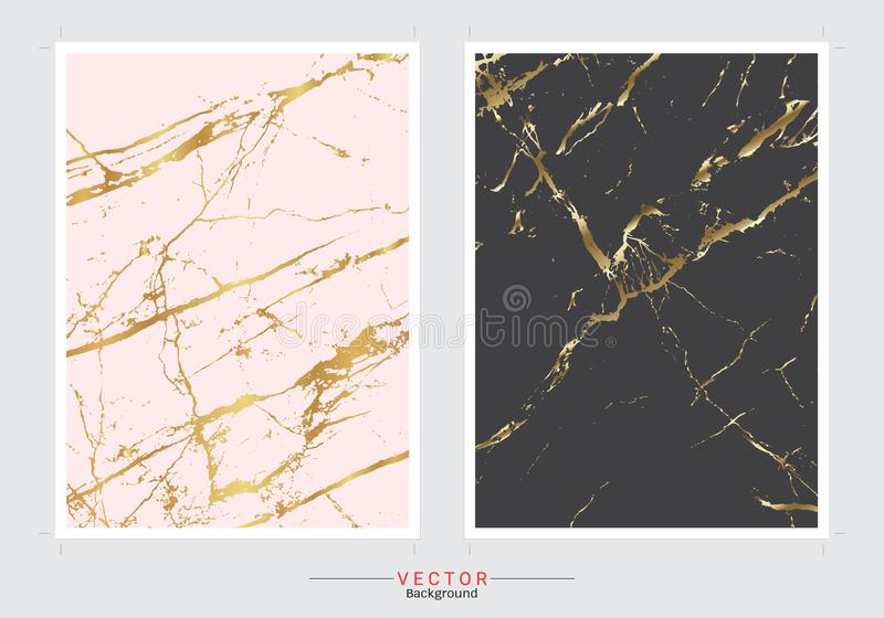 Fundo da tampa do mármore do ouro, molde ajustado do vetor ilustração royalty free