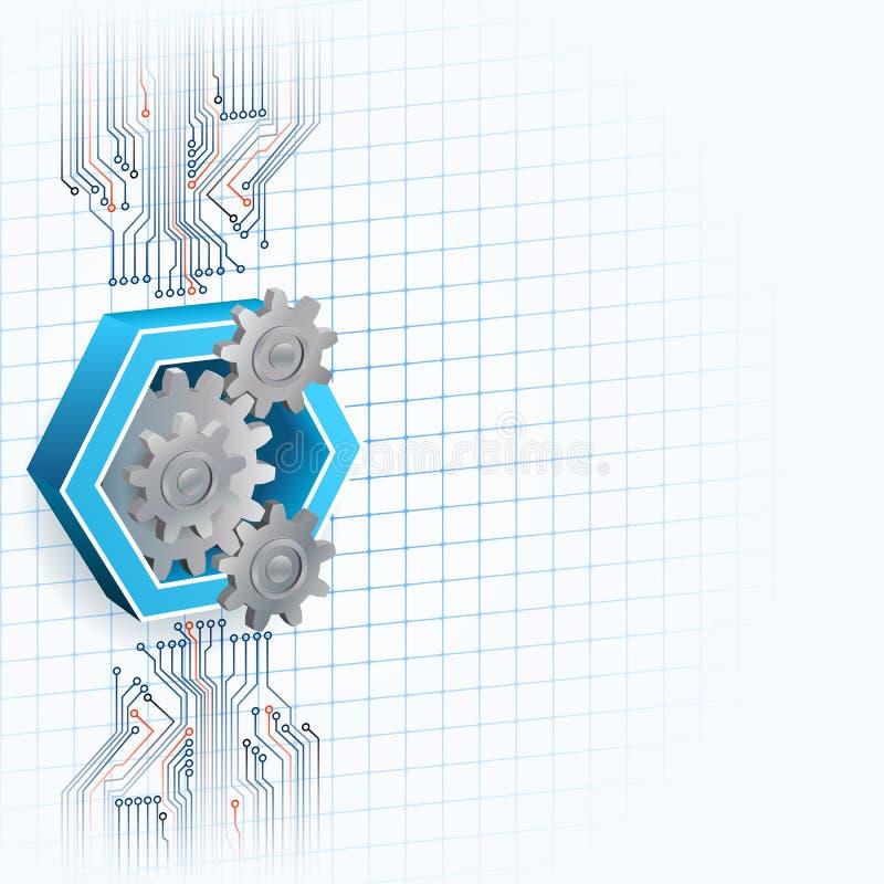 Fundo da tecnologia com as três rodas denteadas das dimensões quadro pelo hexágono ilustração royalty free
