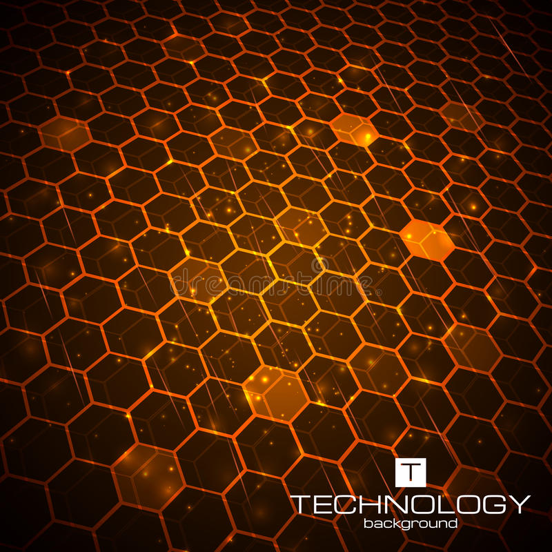 Fundo da tecnologia com textura do favo de mel ilustração stock