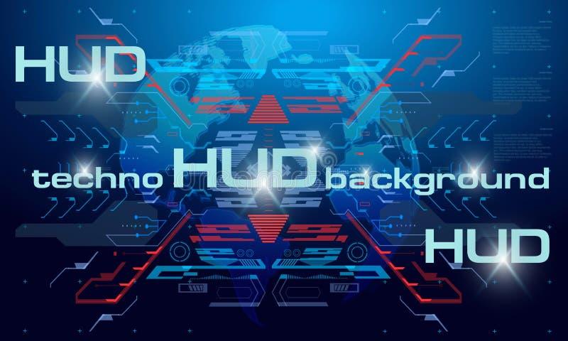 Fundo da tecnologia de HUD, fundo digital colorido, relação da tecnologia 3D Fundo do techno de HUD com flutuação ilustração do vetor