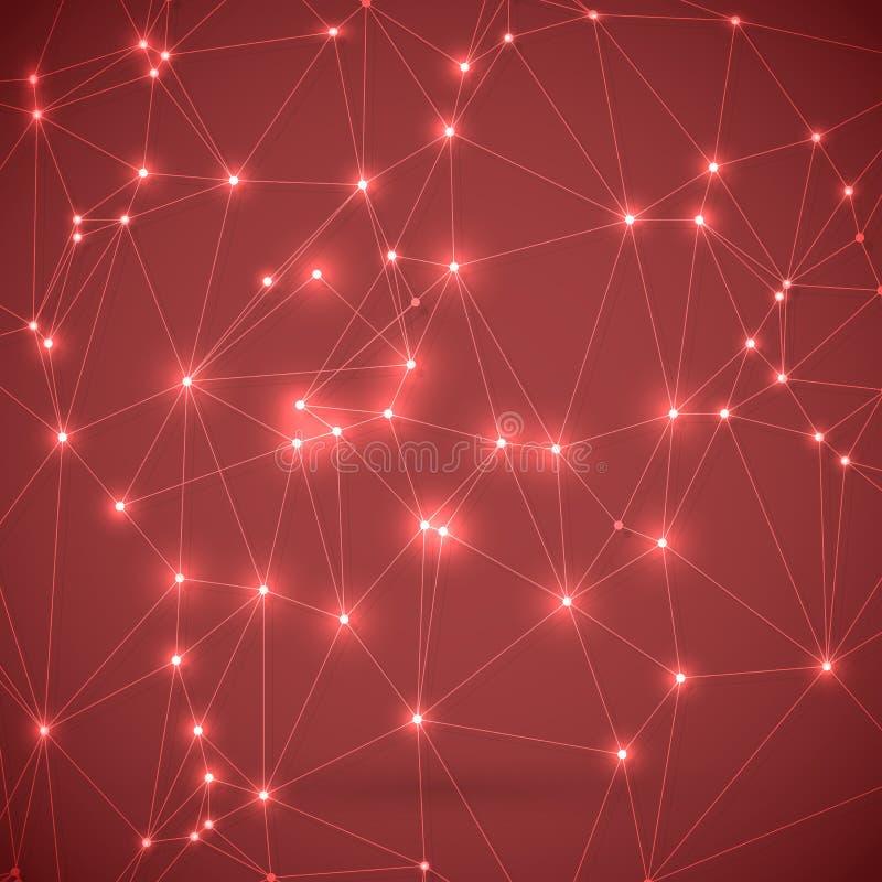 Fundo da tecnologia de Wireframe do vetor Conexões da molécula da química Molde da ciência das conexões de rede ilustração do vetor