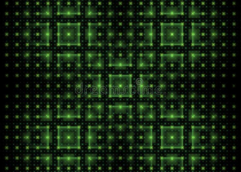 Fundo da tecnologia do Fractal com quadrados brilhantes verdes ilustração royalty free