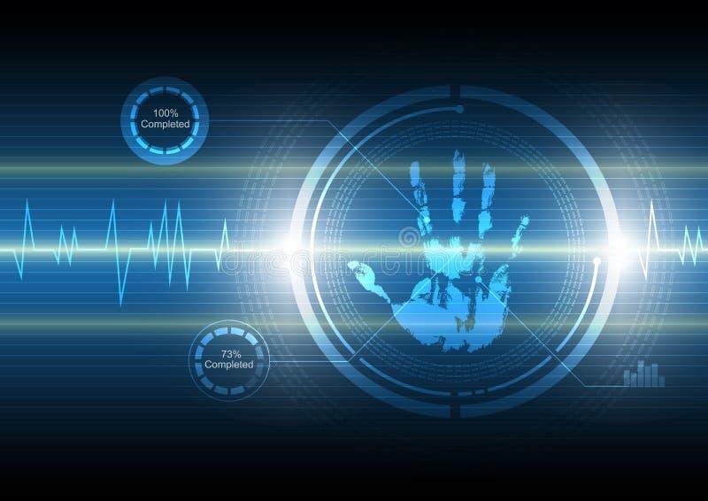 Fundo da tecnologia do handprint da varredura ilustração do vetor
