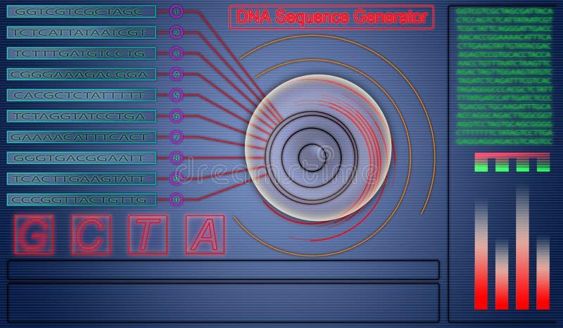 Fundo da tecnologia do sumário do gerador da sequência do ADN olá! ilustração do vetor