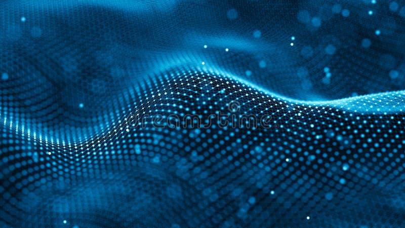 Fundo da tecnologia dos dados abstraia o fundo Pontos e linhas de conex?o no fundo escuro rendi??o 3d 4K ilustração royalty free
