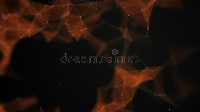 Fundo da tecnologia dos dados Visualização grande dos dados Dots And Lines de conexão Contexto preto rendição 3d 4K ilustração stock