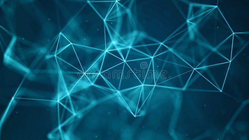 Fundo da tecnologia dos dados Visualiza??o grande dos dados Dots And Lines de conex?o Fundo da ci?ncia rendi??o 3d 4K foto de stock royalty free