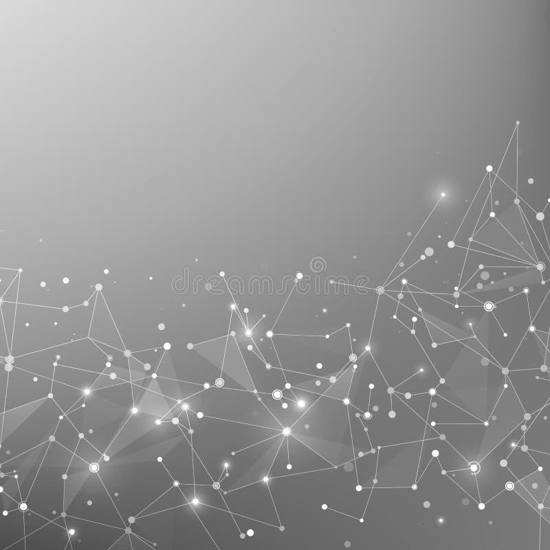 Fundo da tecnologia e da ciência Fundo poligonal Web e nós abstratos Estrutura do átomo do plexo Vetor ilustração royalty free