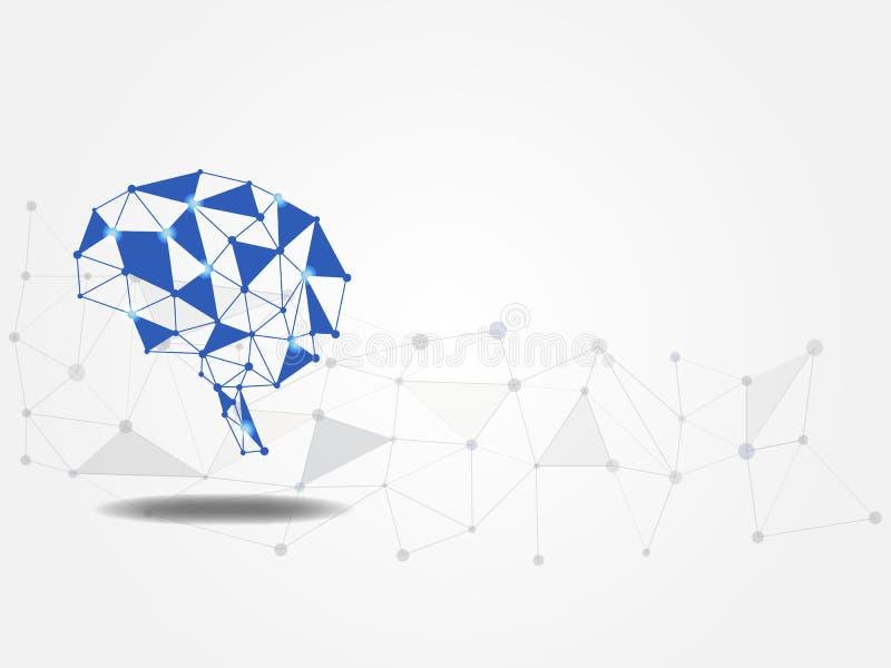 Fundo da tecnologia O modelo do cérebro no fundo poligonal representa o conceito da ideia e da inovação Modelo da rede neural fotografia de stock royalty free
